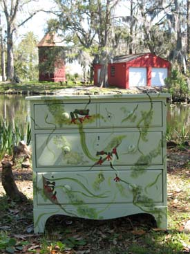Stenciled Frog Dresser from www.all-about-stencils.com