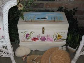 Seashore Stenciled Trunk from www.all-about-stencils.com