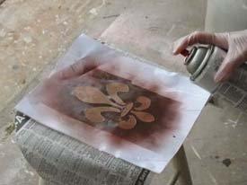 Fleur de lis Spray Paint Stencil Stool from www.all-about-stencils.com
