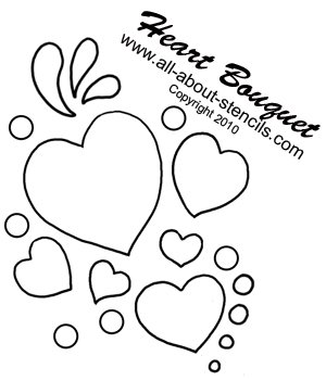 Heart Bouquet Stencil from www.all-about-stencils.com