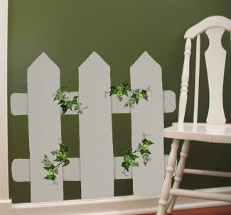 Picket Fence Stenciled Wall from www.all-about-stencils.com