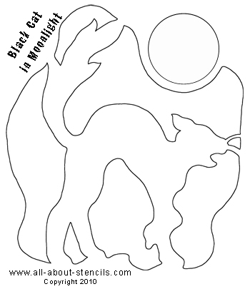 Black Cat in Moonlight Pumpkin Carving Stencil from www.all-about-stencils.com