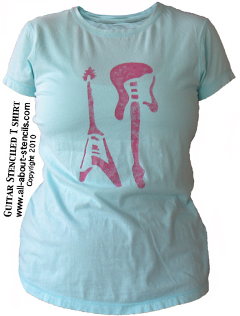 Guitar Stenciled T Shirt from www.all-about-stencils.com