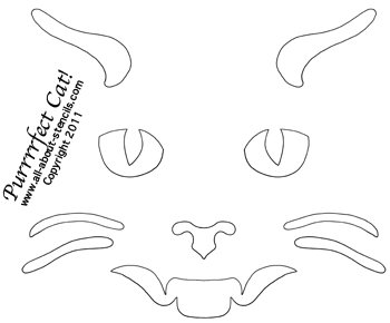 Cat Face Pumpkin Carving Stencil from www.all-about-stencils.com