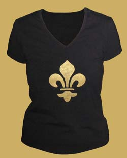 Fleur de lis Stenciled T Shirt from www.all-about-stencils.com