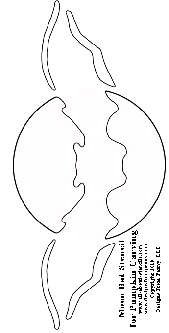 Moon Bat Pumpkin Carving Stencil