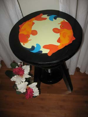 Koi Stencils Stool from www.all-about-stencils.com