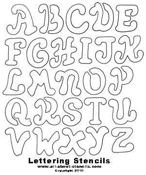 Monster image in free printable stencil letters