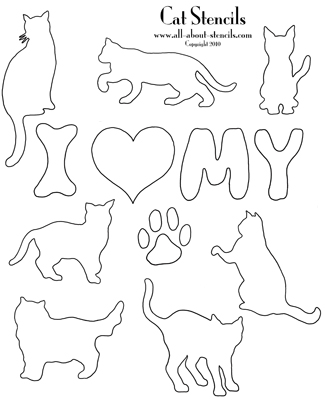 graphic about Cat Stencil Printable titled Cat Stencils, Doggy Stencil Layouts, Animal Stencils All Free of charge