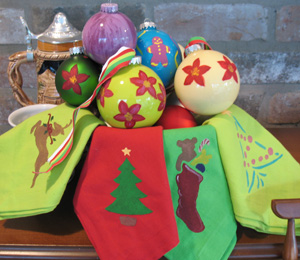 Stenciled Ornaments from www.all-about-stencils.com