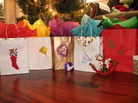 Stenciled Christmas Gift Bags from www.all-about-stencils.com