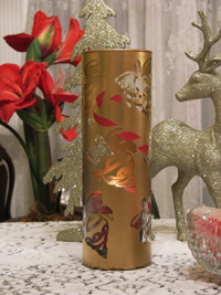 Stenciled Christmas Candle Holder from www.all-about-stencils.com