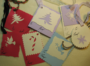Stenciled Christmas Gift Tags from www.all-about-stencils.com
