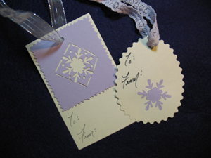 Stencilied Snowflake Gift Tags from www.all-about-stencils.com