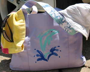 Dolphin Stenciled Beach Bag from www.all-about-stencils.com