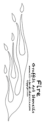picture relating to Flame Stencils Free Printable named A Flame Stencil For Graffiti Stenciling or Non permanent Tattoo
