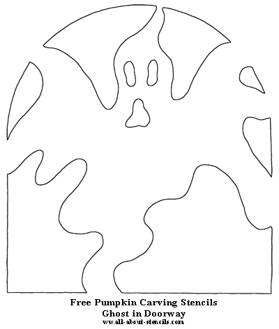 Ghost in Doorway Pumpkin Carving Stencil from All-About-Stencils.com