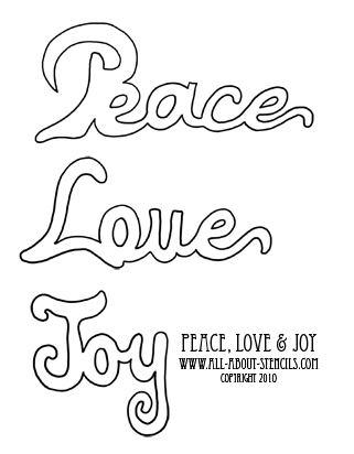 Christmas Peace Love Joy Stencil from www.all-about-stencils.com