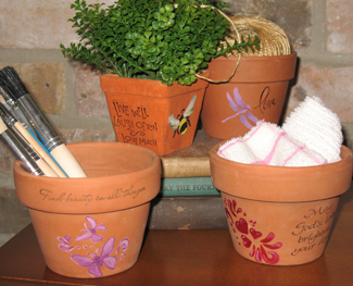 Stamping and Stenciling Garden Planters from All-About-Stencils.com