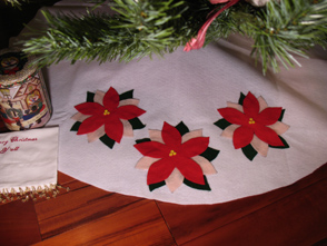 Poinsettia Christmas Tree Skirt from www.all-about-stencils.com