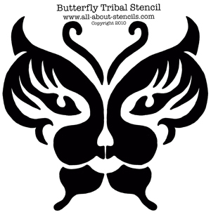 Tribal Butterfly Stencil from www.all-about-stencils.com