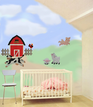 Nursery of Farm Yard Stencils from All-About-Stencils.com
