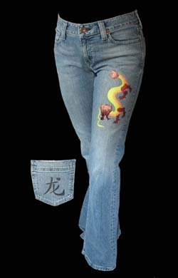 Stenciled Dragon Jeans from www.all-about-stencils.com