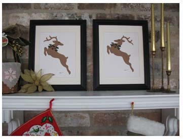 Stencilied Flying Reindeer Prints from www.all-about-stencils.com