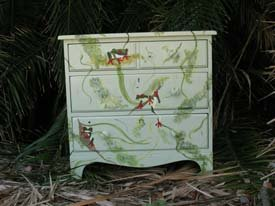 Stencilied Frog Dresser from www.all-about-stencils.com