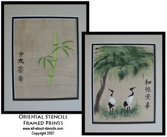 Bamboo and Crane Stenciled Prints from www.all-about-stencils.com