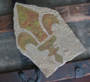 Fleur de lis Stencil on Stone from www.all-about-stencils.com