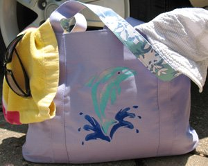 Dolphin Stenciled Tote Bag from www.all-about-stencils.com