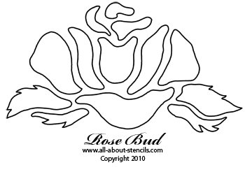 Free Rosebud Stencil from www.all-about-stencils.com