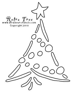 Retro Christmas Tree Stencil