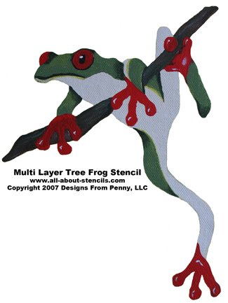 Multiple Overlay Frog Stencil from www.all-about-stencils.com