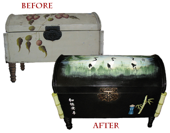Oriental Stencils Trunk Makeover from www.all-about-stencils.com