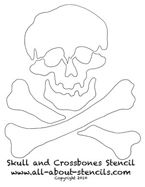 Skull and Crossbones Stencil from www.all-about-stencils.com