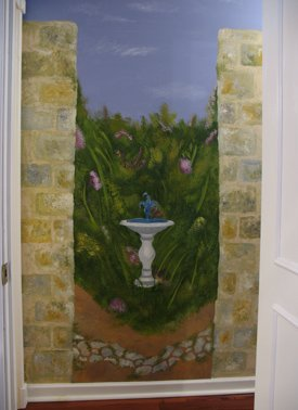 Stencil Wall Murals Fountain Garden from www.all-about-stencils.com