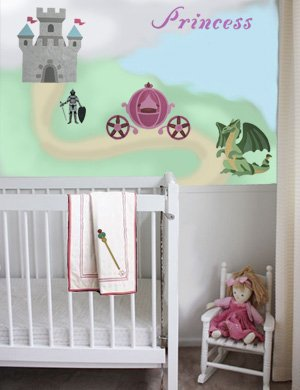 Princess Nursery Mural from www.all-about-stencils.com